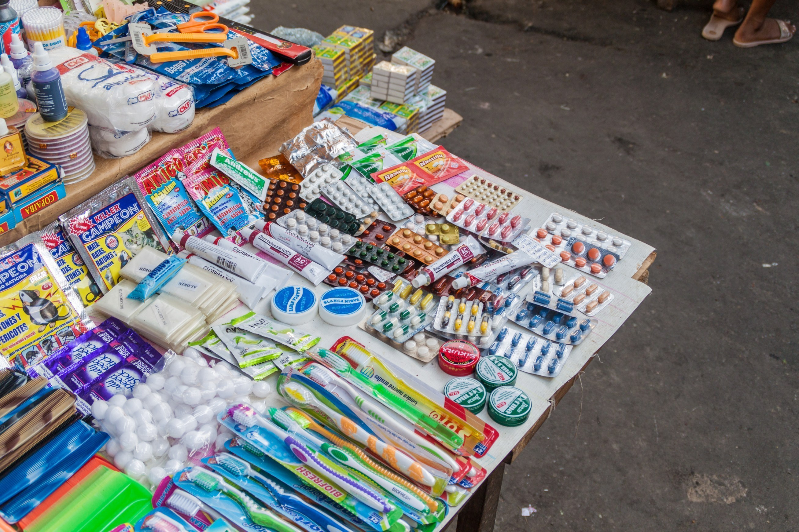 Falsified medicines sold by a street vendor