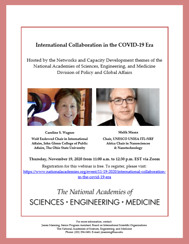 International Collaboration in the COVID-19 Era - Webinar with Caroline S. Wagner and Malik Maaza