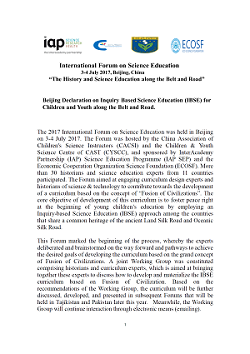International Forum on Science Education 2017 - Cover Declaration