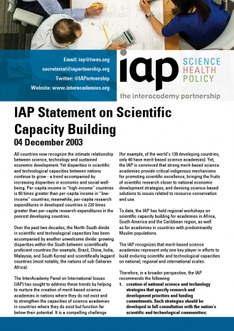 IAP Statement on Scientific Capacity Building Cover