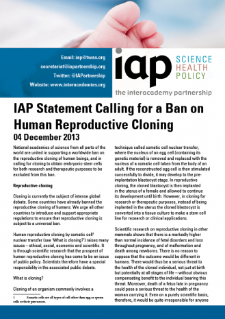 IAP Statement Calling for a Ban on Human Reproductive Cloning Cover