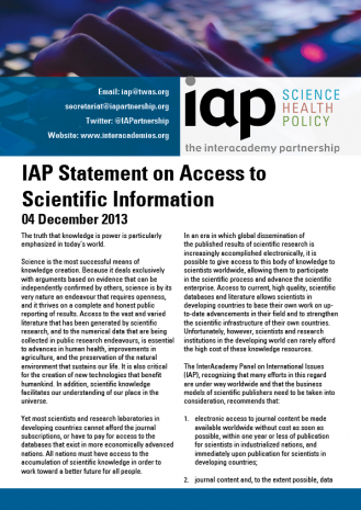 IAP Statement on Access to Scientific Information Cover