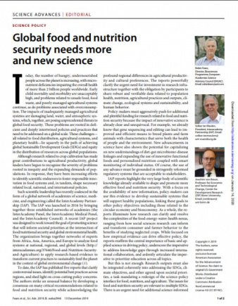 Sciences Advances Global Food and Nutrition Security