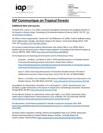IAP Communique on Tropical Forests: Additional References and Data