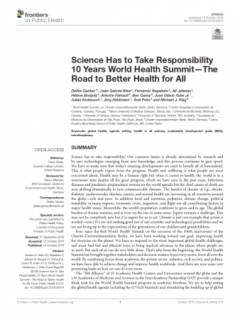 Science Has to Take Responsibility 10 Years World Health Summit_cover