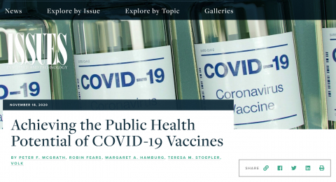 Achieving the Public Health Potential of COVID-19 Vaccines Issues in Science and Technology