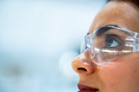 Researcher wearing protective googles