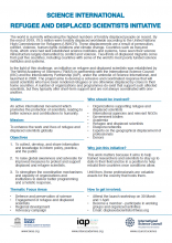 Science International Refugee and Displaced Scientist Initiative flyer