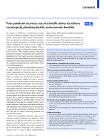 Post-pandemic recovery: use of scientific advice to achieve social equity, planetary health, and economic benefits