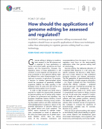 How should the applications of genome editing be assessed and regulated? - cover